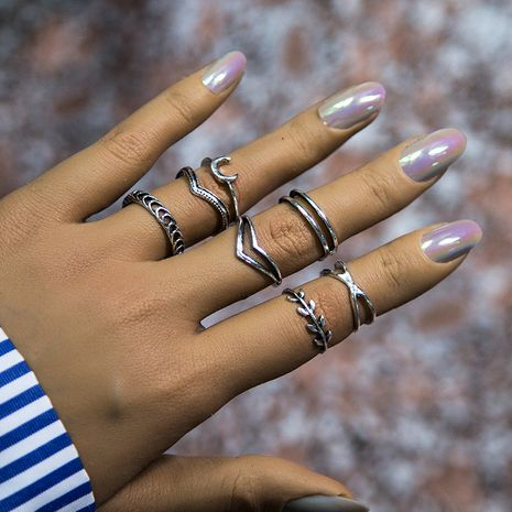 creative multi-element  popular love  moon index finger ring set  wholesale nihaojewelry NHNZ247165's discount tags