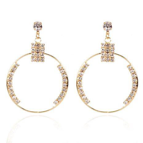 boucles d'oreilles creuses circulaires géométriques en alliage de diamants en gros nihaojewerly NHCT247171's discount tags