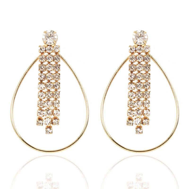 fashion alloy diamond oval hollow earrings wholesale nihaojewerly NHCT247177