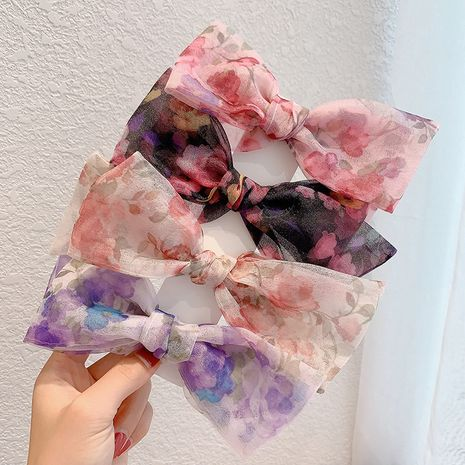 new pink floral bow spring clip girl hair rope back head hair clip wholesale NHCQ247178's discount tags