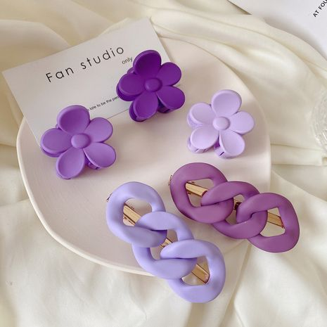 Korea new grape purple series sweet twist chain hairpin flower catch clip wholesale NHCQ247182's discount tags