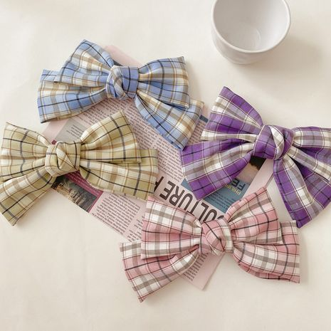 Korea retro lattice side clip bow hairpin back head top clip wholesale nihaojewelry NHCQ247183's discount tags