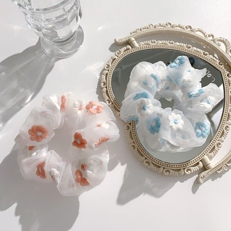 Cherry romantic pink blue embroidery flower hair scrunchies  wholesale nihaojewelry NHCQ247187's discount tags