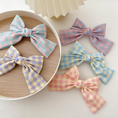 Plaid clear bow hairpin new hairpin headdress clip hair accessories wholesale nihaojewelry NHCQ247190's discount tags