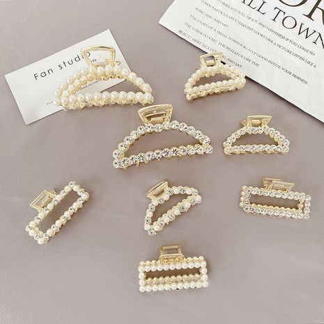 Small clip rhinestone mini  bangs clip pearl hairpin wholesale nihaojewelry NHCQ247192's discount tags