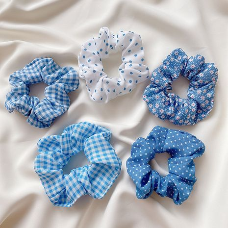 Korean new blue lattice wave dot large intestine circle hair scrunchies  wholesale NHCQ247224's discount tags