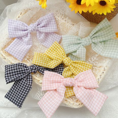 summer new style Korean plaid fabric bow hairpin wholesale nihaojewelry NHCQ247227's discount tags