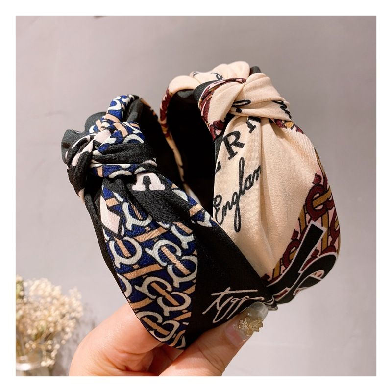 Korean English letters stitching wild middle knot wide-sided non-slip headband NHHD247236