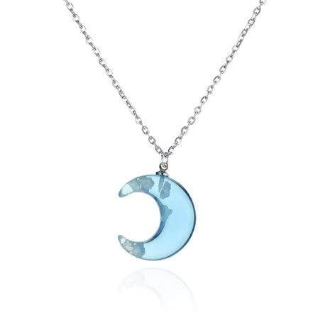 simple fashion girls acrylic blue moon shape pendant necklace  NHAP247283's discount tags