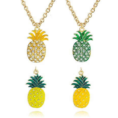 Simple fashion  rhinestone alloy fruit pineapple necklace  NHAP247289's discount tags