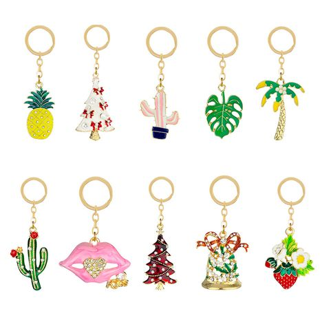 new diamond alloy fresh pineapple strawberry fruit plant key chain  NHAP247292's discount tags