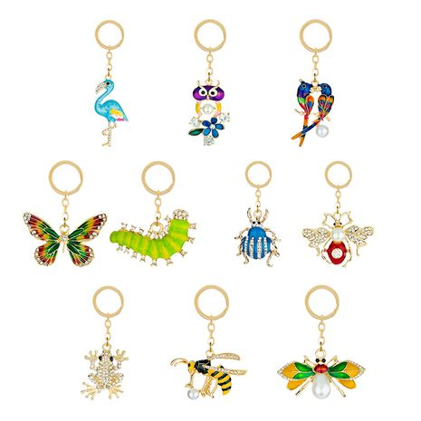 Creative cute fresh diamond alloy  cartoon butterfly flamingo animal key chain  NHAP247293's discount tags