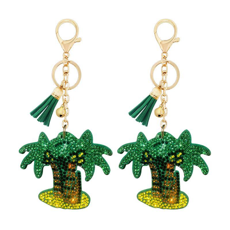 Korean velvet diamond key chain pendant creative coconut tree slippers key chain  NHAP247301