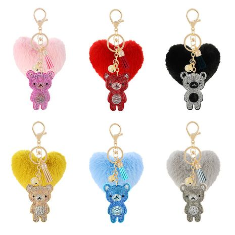 diamond-studded Korean flannel peach heart hair ball keychain  NHAP247305's discount tags