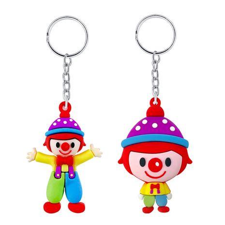 Creative PVC soft plastic cartoon cute big head clown doll keychain pendant wholesale NHAP247309's discount tags