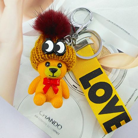New product hat bear resin bag key mobile phone pendant wholesale NHAP247316's discount tags