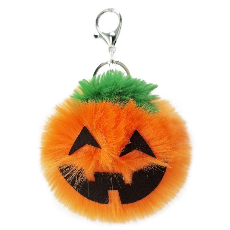 Halloween pumpkin lantern plush non-woven fabric artificial rabbit fox fur ball keychain pendant NHAP247329