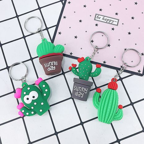 new PVC soft rubber cactus girls bag car ornament toy keychain  NHAP247336's discount tags