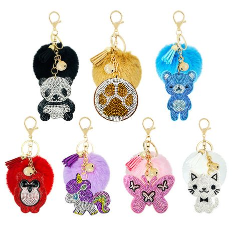 Korea Velvet Diamond Plus Hair Ball Creative  Cartoon Animal key chain  NHAP247338's discount tags