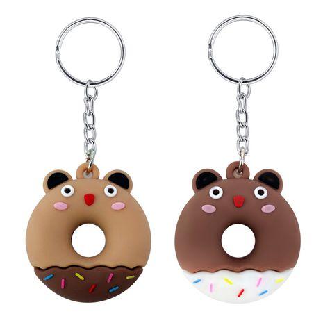 New cartoon bunny cute bear shape donut pendant PVC soft rubber keychain pendant wholesale NHAP247340's discount tags