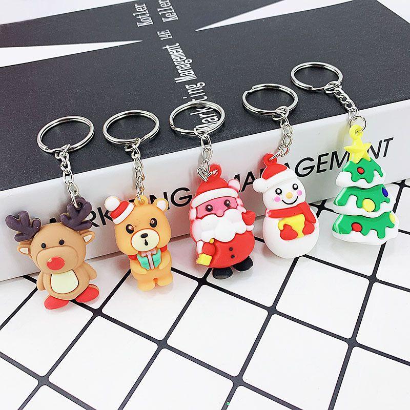 New PVC silicone Christmas small gift bag car  keychain  NHAP247343