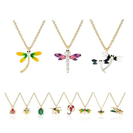 new simple insect pendant diamond alloy animal necklace  NHAP247352's discount tags