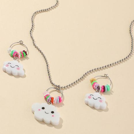 hot sale children cute soft ceramic cartoon colorful smile cloud earrings set wholesale NHNU247358's discount tags