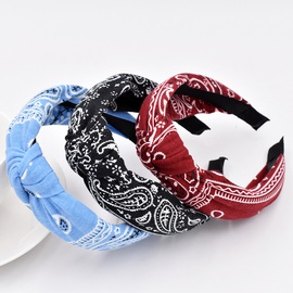 Neue gestrickte Retro Barock Cashew Blume Stirnband Ethnischer Stil Kreuz Stirnband Haarschmuck NHCL247370
