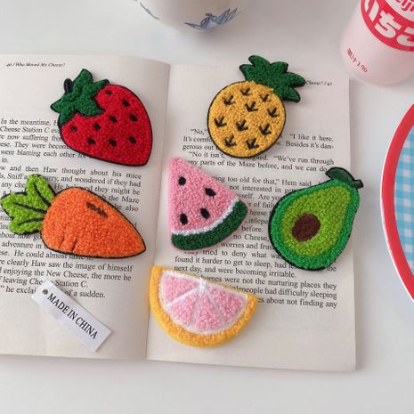 Korea new fruit pineapple strawberry cartoon girl hairpin side clip wholesale NHCQ247372's discount tags