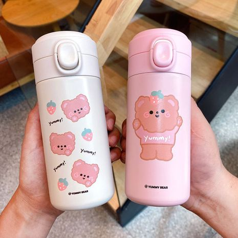 Fashionable cute lid bear large-capacity simple thermal straight-body with anti-fall insulation water cup for students NHtn247398's discount tags