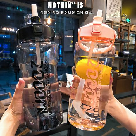 Large-capacity trendy 2L large sports plastic water cup for men and women with graduated straw NHtn247441's discount tags