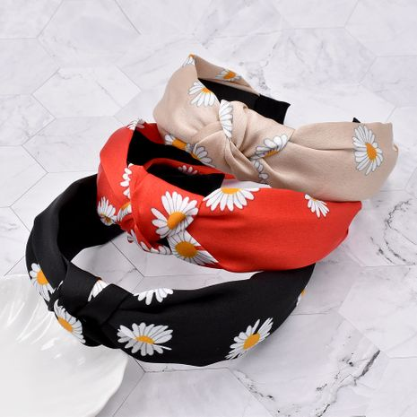 new small daisy hair band fabric flower wide-sided knotted headband wholesale NHCL247491's discount tags