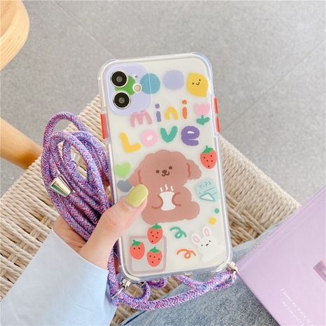 Cute Teddy dog phone case for iPhone11pro Max se2 soft shell diagonal lanyard wholesale NHFI247498's discount tags
