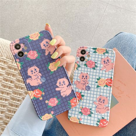 Korean style small flower cat Apple 11Pro Max all-inclusive camera phone case for 8plusXR se2 couples NHFI247499's discount tags