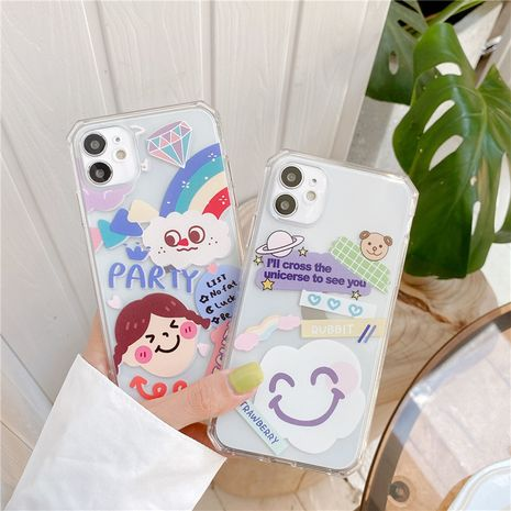 Rainbow smiley cloud Apple 11ProMax mobile phone case for iPhoneXS se2 8plus transparent soft shell NHFI247510's discount tags