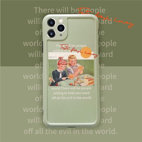 Matcha green oil painting girl Apple 11Pro max all-inclusive camera phone case for 8plusXRse2 soft NHFI247511's discount tags