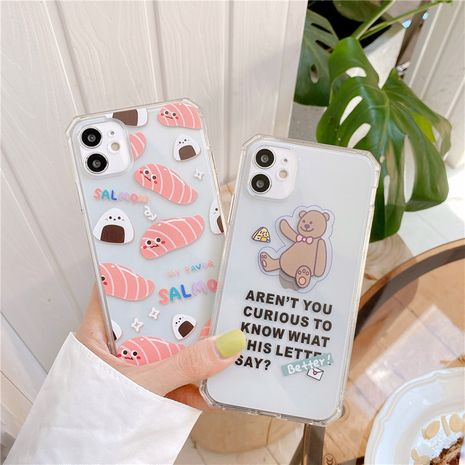 Rice ball salmon apple 11Pro Max mobile phone case for iPhoneXS se2 8plus transparent soft case NHFI247513's discount tags