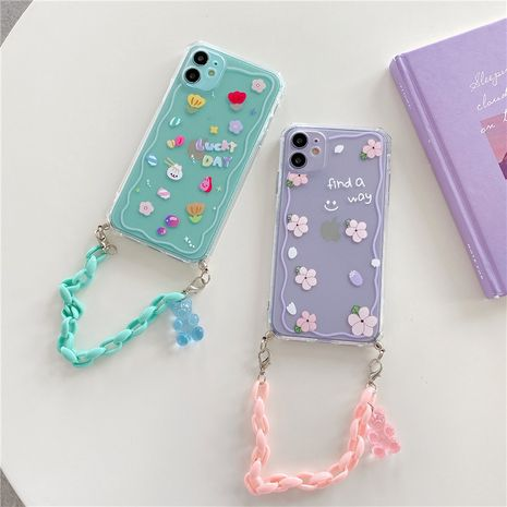 Small floral bear chain mobile phone case for iPhone11pro Max Apple se2 soft shell XR female 8plus NHFI247518's discount tags