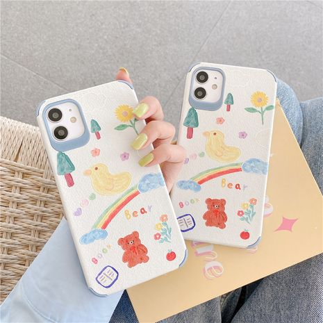 Cartoon duck bear mobile phone case for iPhone11pro Max silk embossed apple se2 soft shell XR  NHFI247521's discount tags