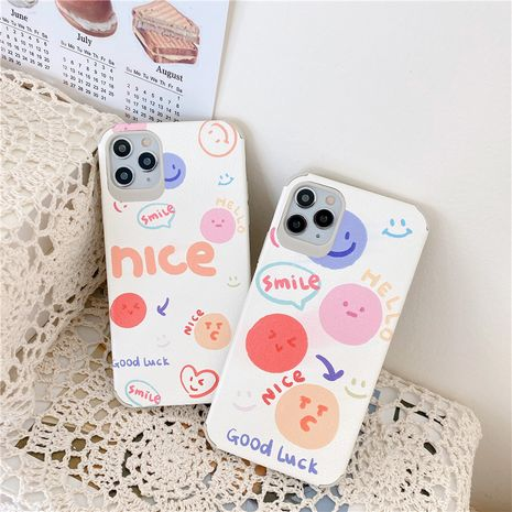 Original smiley phone case for iPhone11pro Max silk embossed apple se2 soft shell XR couple 8p NHFI247522's discount tags