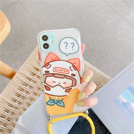 Cute cartoon girl mobile phone case for iPhone11proMax Apple se2 soft shell diagonal lanyard 8plus NHFI247523's discount tags