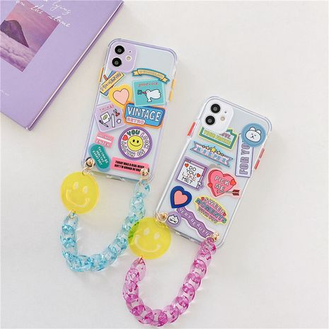 Smiley expression chain mobile phone case for iPhone11proMax lanyard Apple se2 soft shell XR female 8plus NHFI247525's discount tags