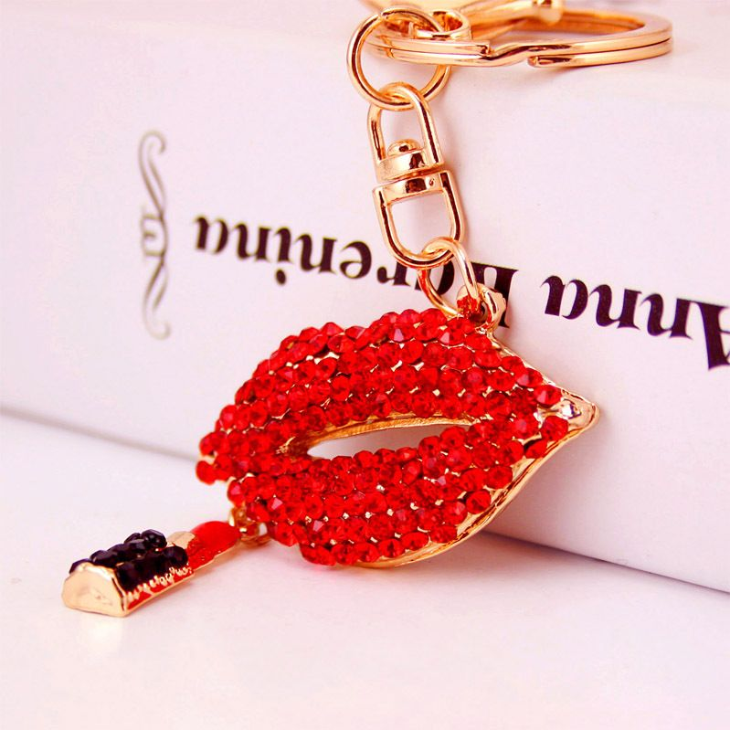 Korean fashion diamond red lips mouth ladies bag accessories key chain metal pendant NHAK247549