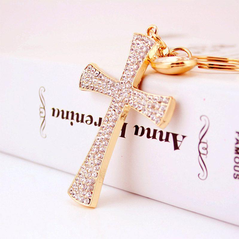 Hot Sale Christian Water Drop Diamond Cross Metal Pendant women's Bag Accessories Keychain NHAK247557