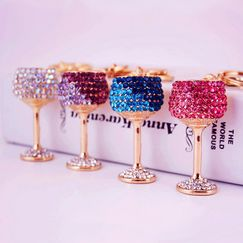 Diamond Crystal Wine Glass Car Keychain  NHAK247560