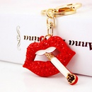 Craft Small Gift Cigarette Red Lip Ladies Metal Pendant Mouth Keychain NHAK247564