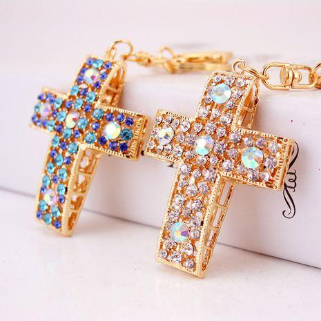 Porte-clés de voiture chrétienne de croix de cristal de diamant coréen NHAK247578's discount tags