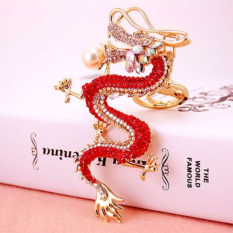Chinese style crafts dragon diamond men's key chain  NHAK247587's discount tags