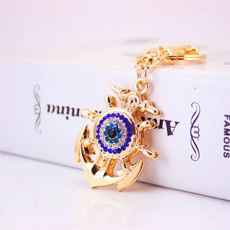 Korean Diamond Anchor Devil's Eye Shaped Metal Pendant Key Chain  NHAK247588's discount tags