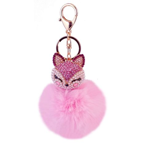 diamond-studded fox head rabbit fur ball alloy keychain NHAK247592's discount tags